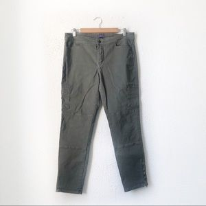 NYDJ | Olive Green Cropped Skinny Cargo Pants 12